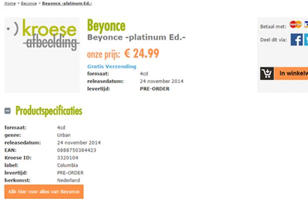 Página de site holandês com lançamento do 'BEYONCÉ Platinum Edition' (Reprodução)