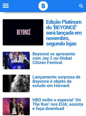 Versão mobile do Beyoncé on Top, 2014 (Reprodução)