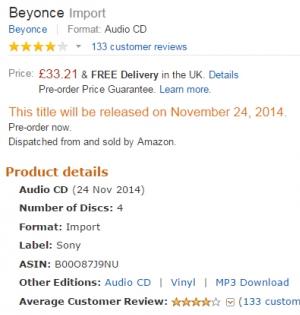 Informações sobre o lançamento do 'Beyoncé Platinum' na Amazon UK (Foto: Reprodução/Amazon)