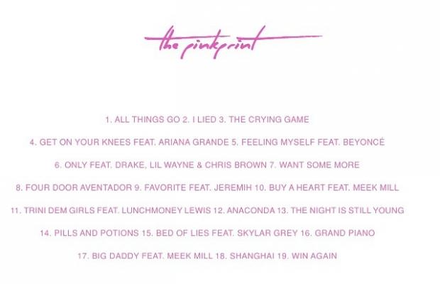 Faixas do álbum de Nicki Minak, 'The Pinkprint' (Foto: Divulgação/Instagram/Nicki Minaj)