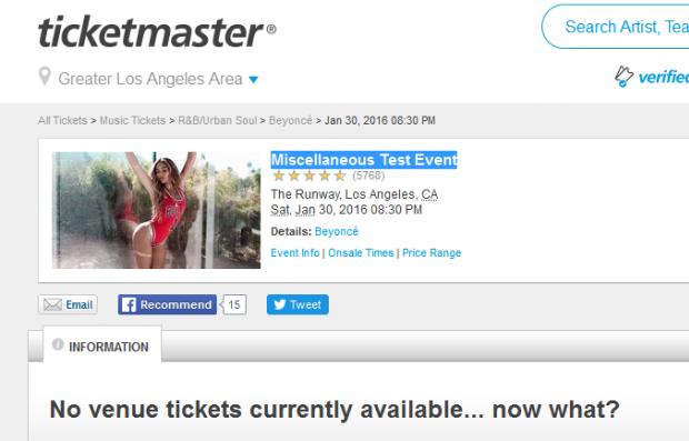 Página de testes na Ticketmaster (Foto: Reprodução)