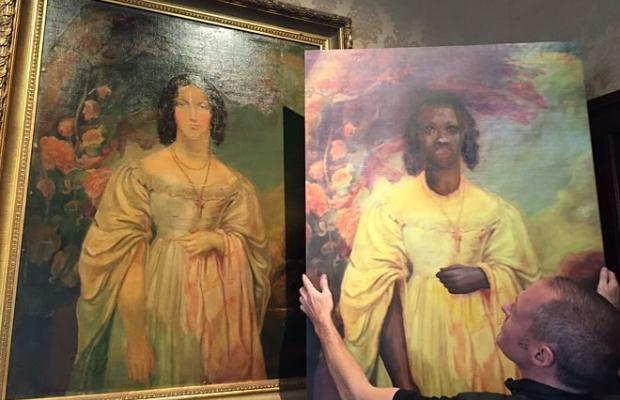 Pintura original e pintura criada para vídeo de 'Formation' (Foto: Divulgação)