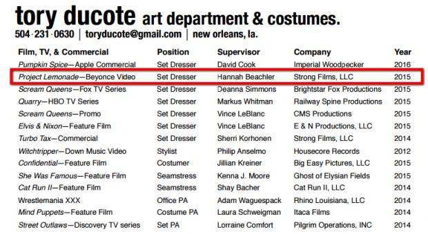 Lista de trabalhos de Tory Ducote mostra projeto de Beyoncé (Foto: Reprodução)