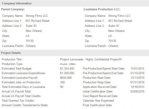 Documento com detalhes do projeto 'LEMONADE' (Foto: Reprodução)