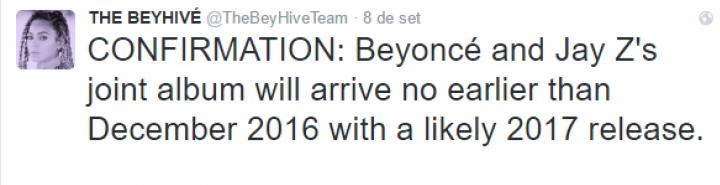 Tuíte sobre álbum conjunto de Beyoncé e Jay Z (Foto: Reprodução/Twitter)