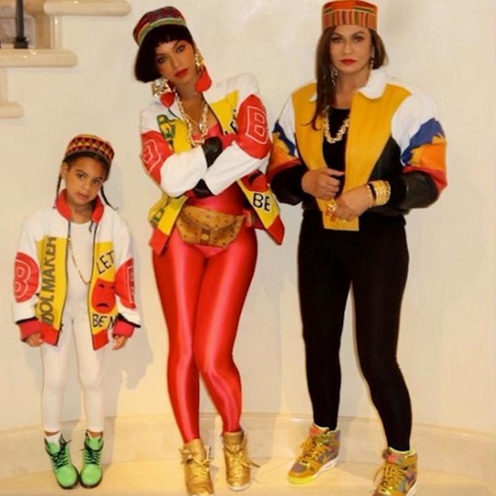 Beyoncé, Blue e Tina em homenagem ao Salt-N-Pepa no Halloween (Foto: Divulgação/Beyoncé)