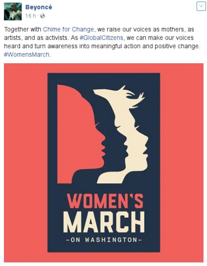 Beyoncé publica convite à Marcha das Mulheres em Washington (Foto: Reprodução)