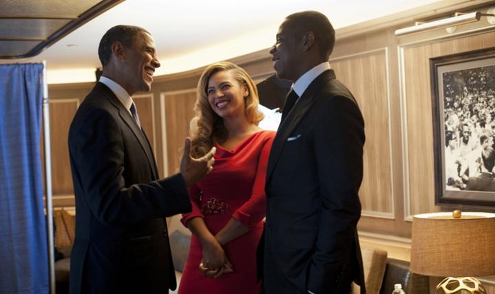 Beyoncé, Jay Z e Barack Obama em 2012 (Foto: Divulgação)