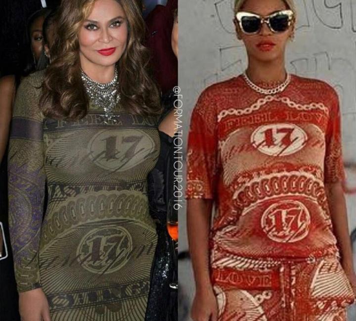 Montagem de Beyoncé e Tina usando vestido Givenchy (Foto: Reprodução)