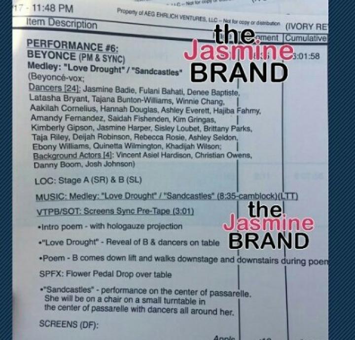 Possível roteiro da apresentação de Beyoncé caiu na rede (Foto: Reprodução)