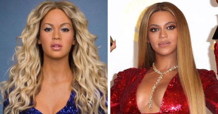 Estátua de Beyoncé no Madame Tussauds Manhattan, à esquerda; Beyoncé no Grammy Awards 2017, à direita (Foto: Reprodução/The New York Times)