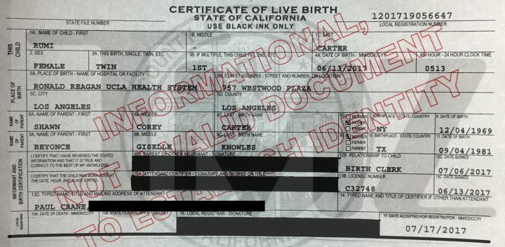 Certidão de nascimento de Rumi Carter (Foto: Reprodução/TMZ)
