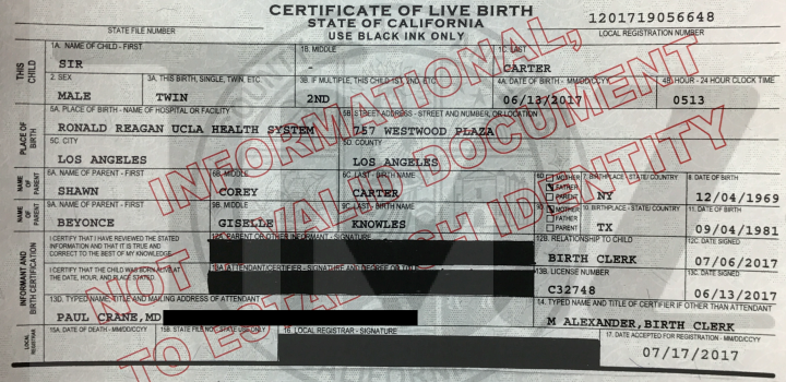Certidão de nascimento de Sir Carter (Foto: Reprodução/TMZ)