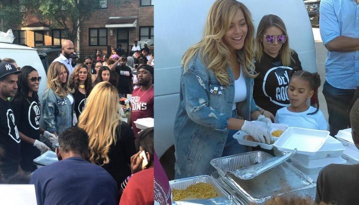 Beyoncé ajudando a servir os sobreviventes do furacão Harvey, em Houston (Foto: Reprodução)