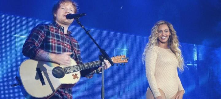 Ed Sheeran e Beyoncé no Global Citizen Festival (Foto: Reprodução)