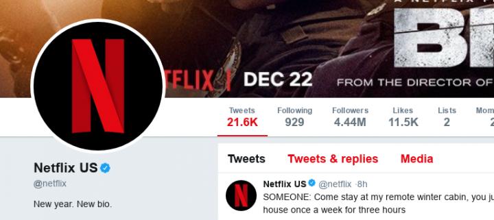 Bio da Netflix no Twitter no começo de 2018 (Foto: Reprodução)
