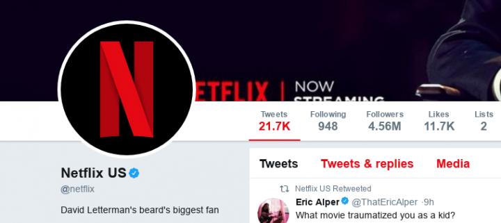 Bio da Netflix no Twitter em 15 de janeiro de 2018 (Foto: Reprodução)