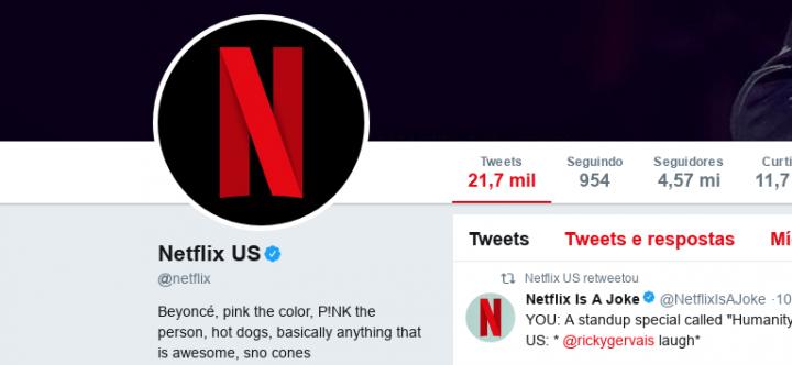 Bio da Netflix no Twitter em 17 de janeiro de 2018 (Foto: Reprodução)