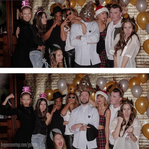 Beyoncé, Jay Z e os convidados da festa em foto publicada por Taylor Swift